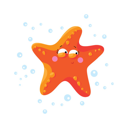 finger fish: Cute starfish cartoon isolated. T-Shirt design for children.