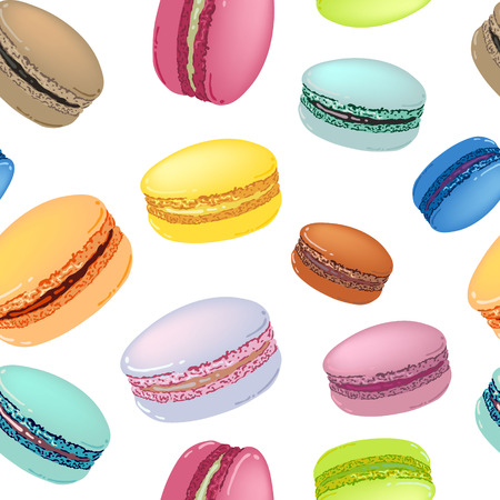 Seamless pattern with colorful macaroon cookies on white. Vector illustration. Vettoriali