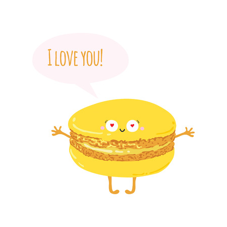 macaroon: Postcard with cute macaroon. I love you