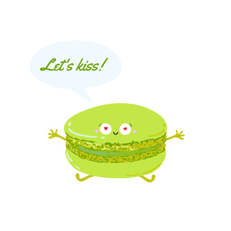 macaroon: Postcard with cute macaroon. Caption let kissing Illustration