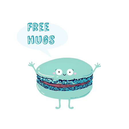 macaroon: Postcard with cute macaroon. Inscription free hugs
