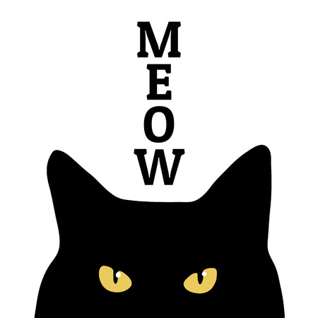 meow: Black cat and meow inscription. Print on clothes. Vector.