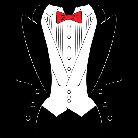 Mens coat with a shirt and tie. Print on clothes. Vector