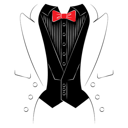 tailcoat: Mens coat with a shirt and tie. Print on clothes. Vector