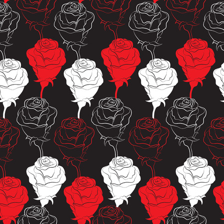 the contour: Seamless vector background with contour roses.