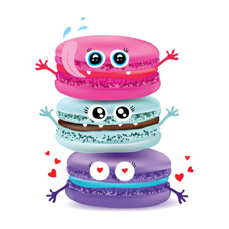 macaroon: Cute macaroon doodles Vector food illustration.