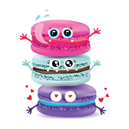 macaroon: Cute macaroon doodles Vector food illustration.