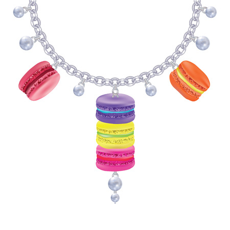 macaroon: Necklace with macaroon and pearls on a silver chain