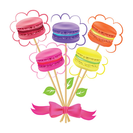 macaroon: Bouquet of macaroon on sticks. Vector illustration Illustration