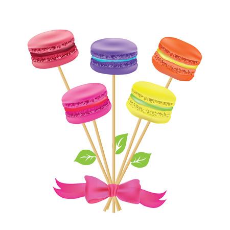 macaroon: Bouquet of macaroon on sticks. Vector illustration Illustration