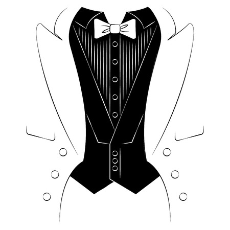 tailcoat: Mens coat with a shirt and tie. Print on clothes Illustration