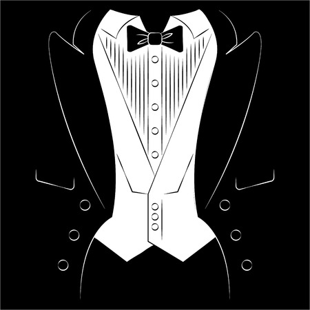 solemn: Mens coat with a shirt and tie. Print on clothes Illustration
