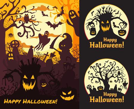 afterglow: Halloween vector set illustration posters. Illustration