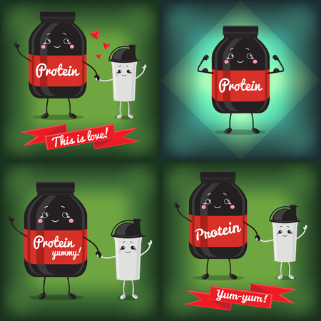 shakes: Sports nutrition. Protein and shaker. Vector set