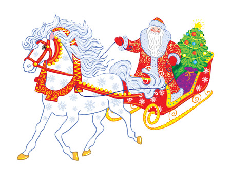 grandfather frost: Russian Grandfather Frost in a sleigh. Illustration