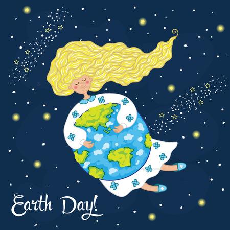 environment geography: Cute cartoon Earth Day postcard. Vector illustration