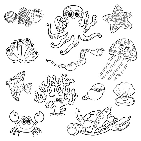 and marine life: Set of marine life. Residents of ocean fauna, underwater life