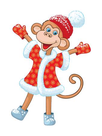 comical: Illustraiton of comical monkey new year symbol