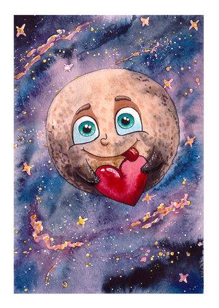 pluto: The planet Pluto, Watercolor illustration Stock Photo