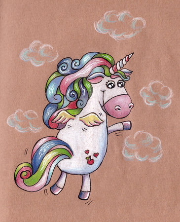 cartoon rainbow: Volando en el cielo unicornio. Raster-postal de la ilustraci�n. Foto de archivo