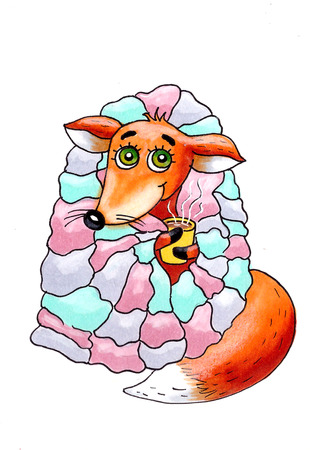 blanket: Cute little Fox in a blanket with tea