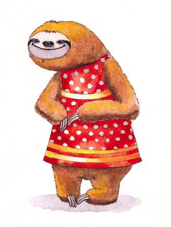 oso perezoso: perezoso divertido en un vestido. ilustraci�n de la acuarela