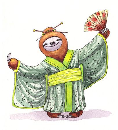 red bathrobe: Funny sloth in a kimono. Watercolor illustration
