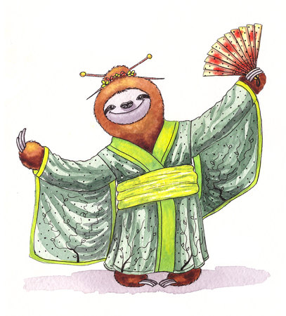 oso perezoso: perezoso divertido en un kimono. ilustraci�n de la acuarela Foto de archivo