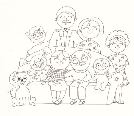 relative: Big family. Linear illustration on a white background.