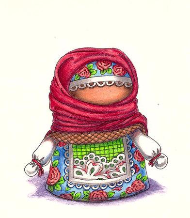 talismán: muñecos amuleto talismán. la artesanía popular ruso. Ilustración con lápices de colores.