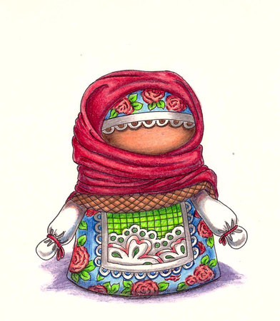 talisman: Talisman amulet dolls. Russian folk crafts. Illustration with colored pencils.