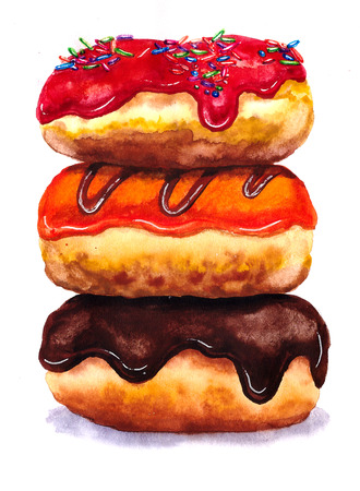 Three Colorful donuts. Illustration watercolor