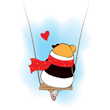guinea pig: Guinea pig sad on the swings Illustration