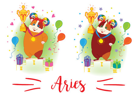 guinea pig: The signs of the zodiac. Guinea pig. Aries Illustration