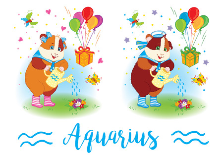 mumps: The signs of the zodiac. Guinea pig. Aquarius Illustration