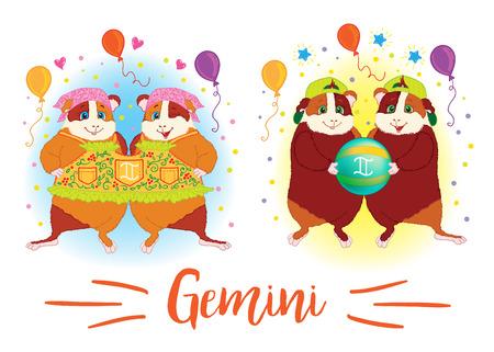 The signs of the zodiac. Guinea pig. Gemini