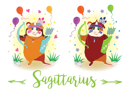 guinea pig: The signs of the zodiac. Guinea pig. Sagittarius Illustration