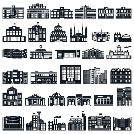 post office building: Set of icons of buildings. Vector series, flat