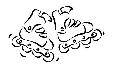 rollerblades: Roller skates and rollerblades Doodle style sketch.