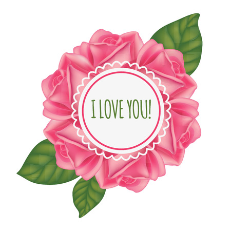 Vector frame with roses and inscription I love you. Illustration