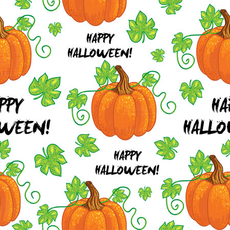 curlicues: Vector seamless happy halloween pattern.