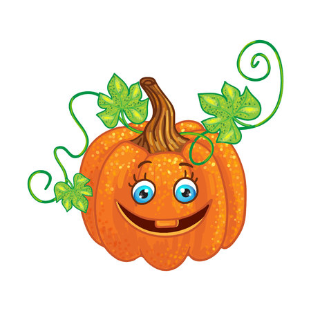 Halloween character pumpkin isolated on white background.