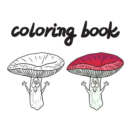 Coloring book with rassule, a edible mushroom. Illustration