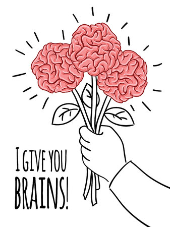 Brain postcard with inscription - I give you brains Design vector template. Print concept.