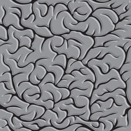 Seamless pattern with brains Vector in monochrome.