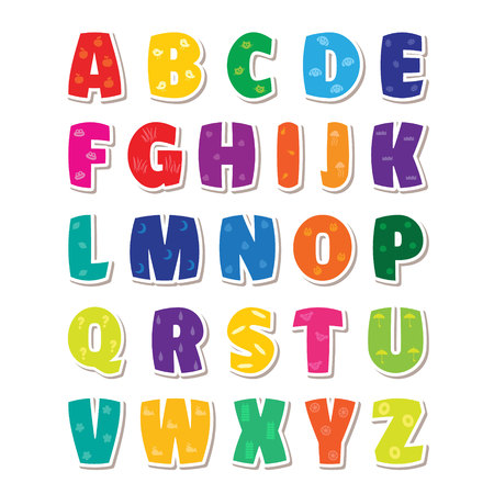 Cute funny childish alphabet. Vector font illustration Stok Fotoğraf - 85472277
