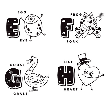 Alphabet letter E F G H depicting an egg, frog, goose and heart. Vector alphabet Illustration