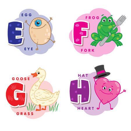 Alphabet letter E F G H an egg, frog, goose, heart Illusztráció