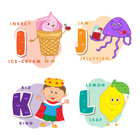 variability: Alphabet Children Colored letter I J K L