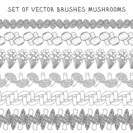 Set of vector borders Brush mushrooms.